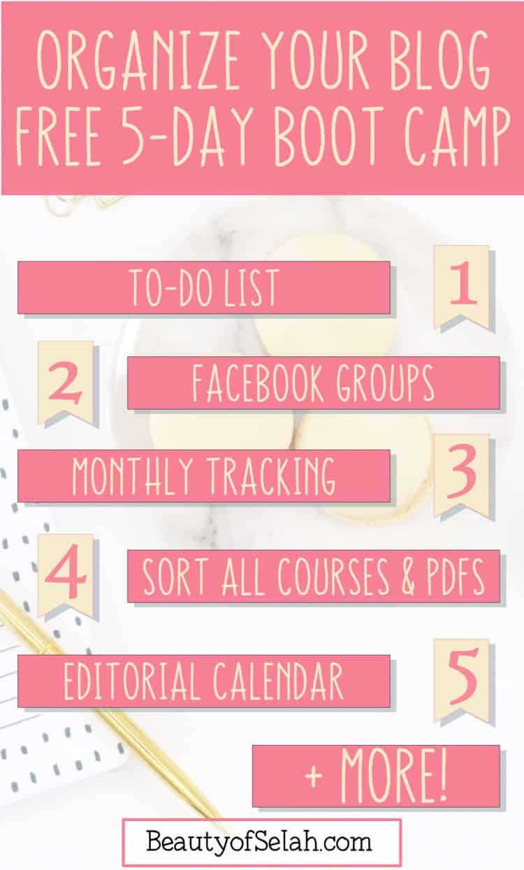 "Have you ever wondered ""How can I organize my blog?"" I have a FREE solution for you! Let me help you master organizing blog content, figure out how to organize blog files and help you answer the question ""How do I plan my blog content?"" Give me 5 days and you'll organize your to-do list, your monthly stats tracking, your facebook groups-including creating a schedule to share your content in them, organize ALL your PDFs and courses, AND create an editorial calendar!! Sign up now for FREE! #blog #blogplanning #blogging #growyourblog"